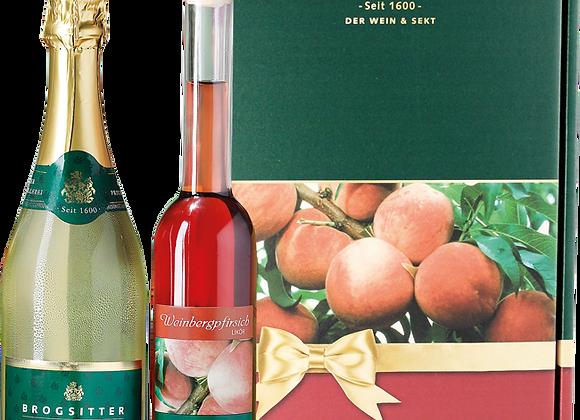 Weinbergpfirsich-Likör & Brogsitter Chardonnay-Sekt