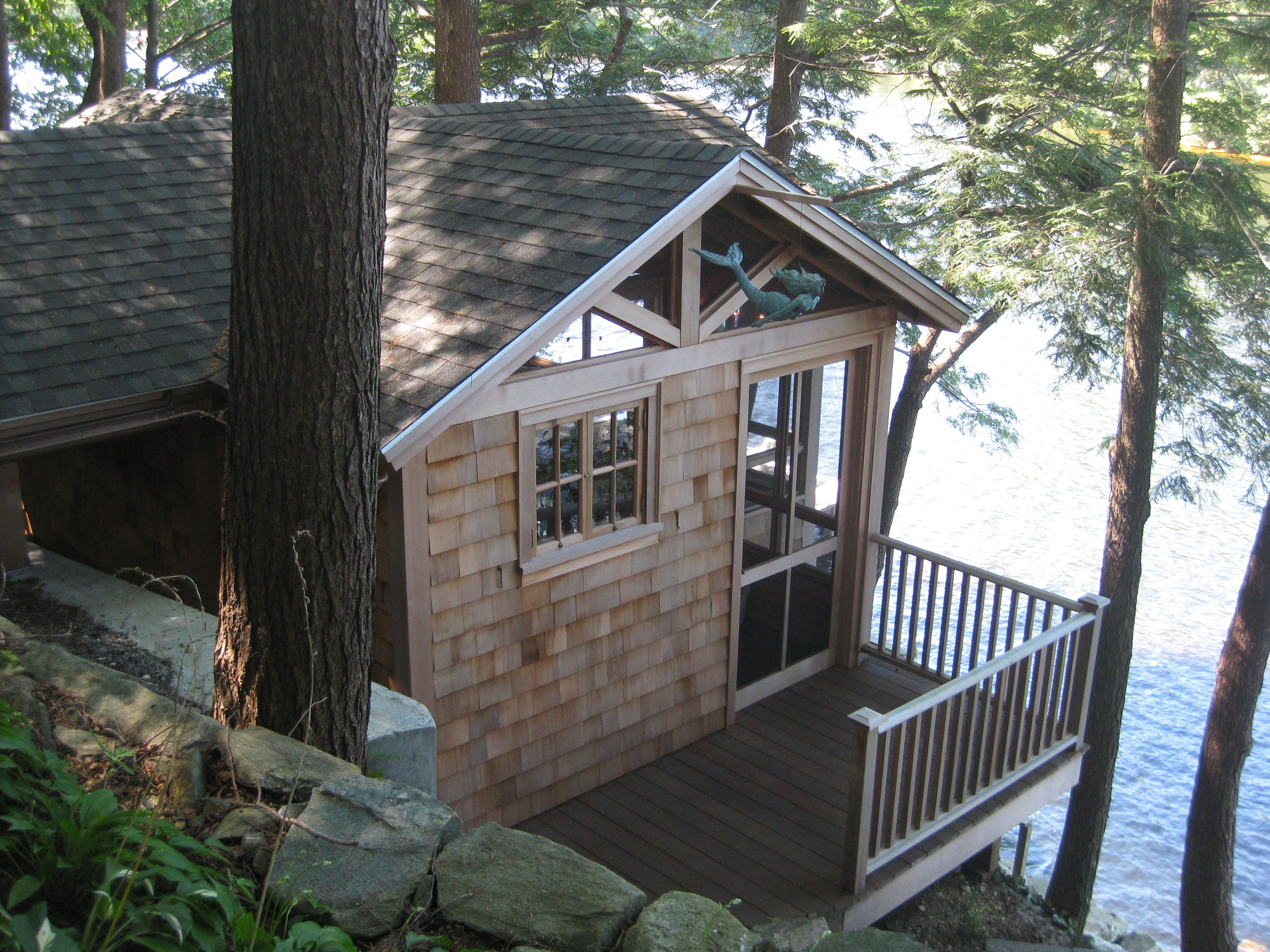 waterfront cabin exterior deck