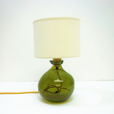 Recycled Blown Glass Table Lamp with Choice of Flex   24cm Olive Green