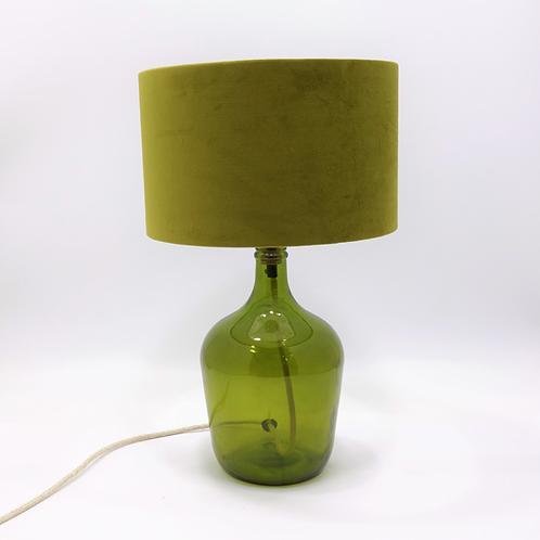 recycled glass lamp base demijohn green