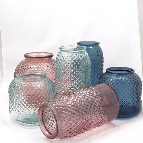 Recycled glass Diamond vase collection
