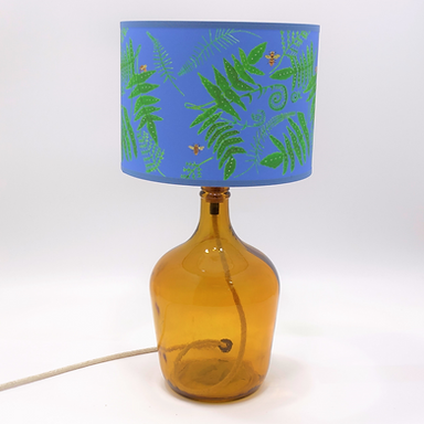 Recycled Glass DemijohmTable Lamp with Choice of Flex | 36cm Amber