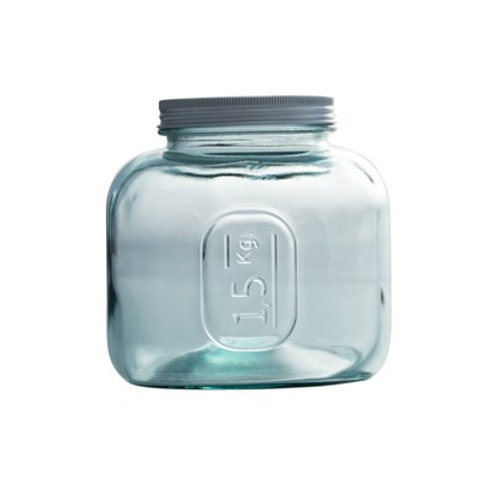 Recycled Glass Storage Jar  | 1.5L  |  Set of 3 with a Screw Top Lid