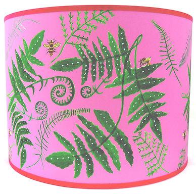 "Handmade Printed Lamp Shade | 12"" to 20"" Diameter | Fern & Bees in Pink"