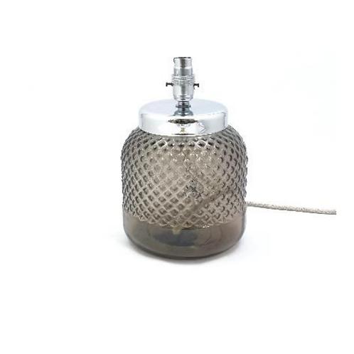 Recycled glass diamond lamp smoke grey