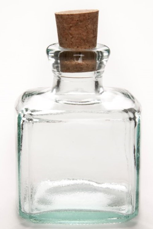 Recycled glass 200ml square bottle cork lid