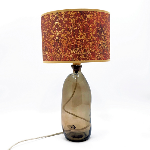 recycled glass bottle lamp grey