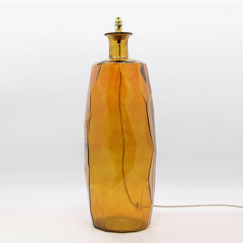 Recycled glass Origami lamp amber