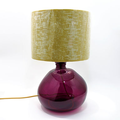 Recycled Blown Glass Table Lamp with Choice of Flex | 39cm Mulberry