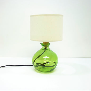 Recycled Blown Glass Table Lamp with Choice of Flex | 24cm Green
