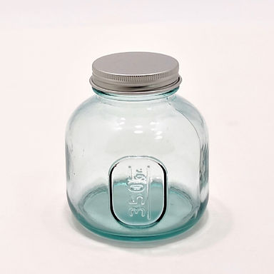 Recycled Glass Storage Jar  | 350ml  |  Set of 3 with a Screw Top Lid