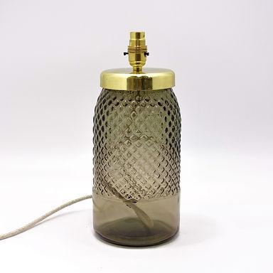 Recycled Glass Diamond Lamp Base with Choice of Flex | 34cm Smoke Grey