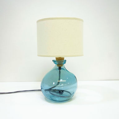 Recycled Blown Glass Table Lamp with Choice of Flex | 24cm Light Blue