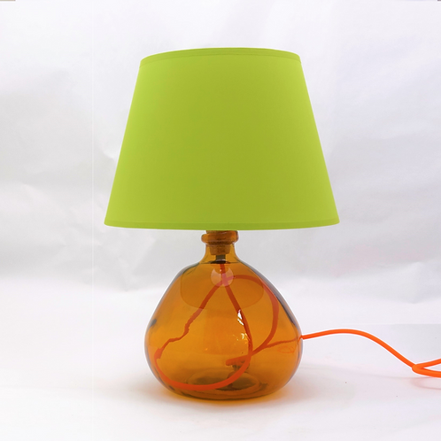 recycled glass bottle lamp amber