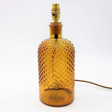 Recycled Glass Diamond Lamp Base with Choice of Flex   34cm Amber