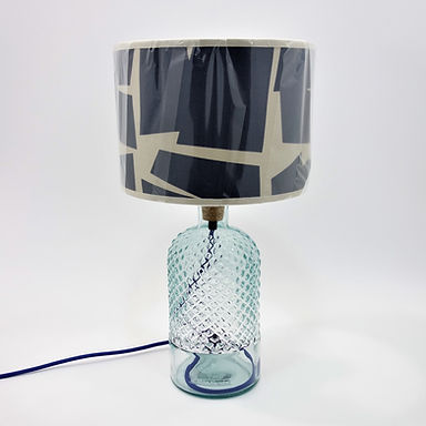 Recycled Glass Diamond Lamp Base with Choice of Flex | 34cm Clear