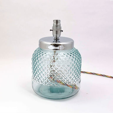 Recycled Glass Lamp Base with Choice of Flex | 26cm Natural Recycled | Diamond