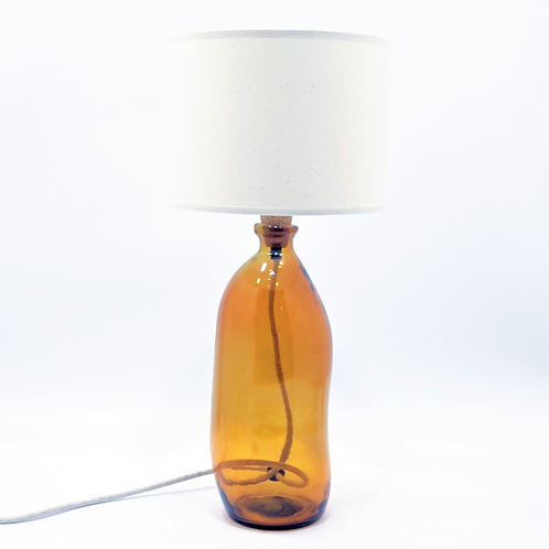 recycled glass bottle lamp amber shade