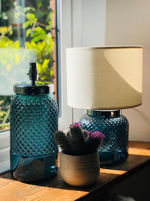 34cm Recycled Glass Diamond Bottle Lamp