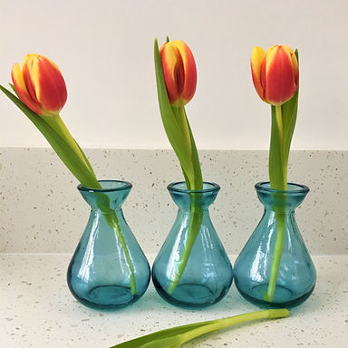 Trio of Recycled Bud Vases  |  12cm | Light Blue