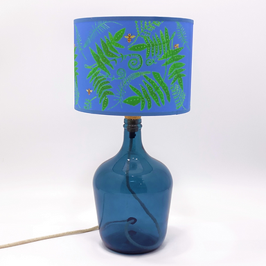 Recycled Glass Demijohn Table Lamp with Choice of Flex | 36cm Petrol Blue