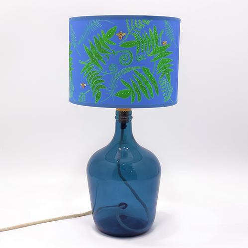 recycled glass lamp base demijohn petrol blue shade