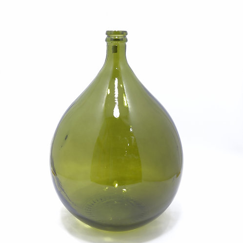 large recycled glass bottle, terrarium, olive green