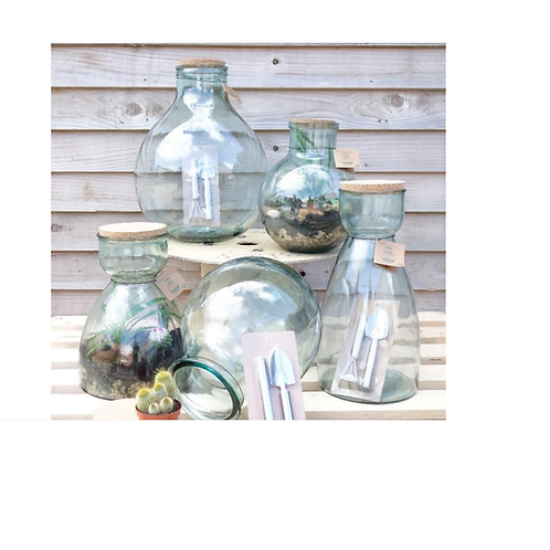 Recycled glass terrarium collection