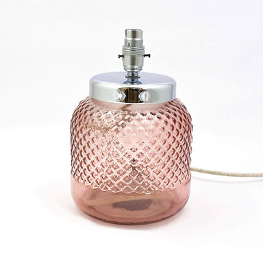Recycled Glass Lamp Base | 26cm Pink | Diamond Embossed