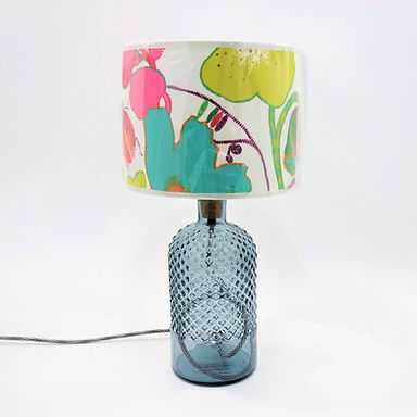 Recycled Glass Diamond Lamp Base with Choice of Flex   34cm Grey