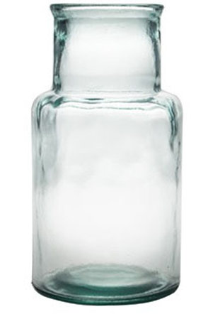Recycled glass 28cm hurricane vase