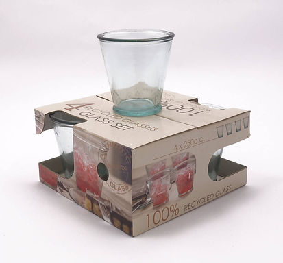 Recycled Glass Tumbler  |  250ml  |  Set of 4 in a Printed Giftbox