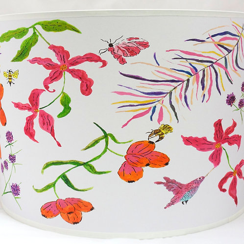 Humming bird lampshade white pink