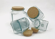 Square Storage Jars with a Cork Lid