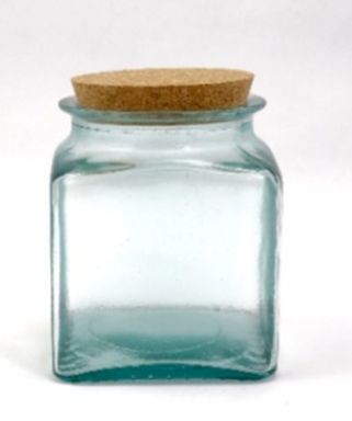 "Recycled Glass Storage Jar  |  1.1L ""Square""  