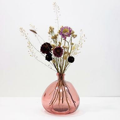 Dried Flower Bouquet in Recycled Glass Vase   Pink Vase   Pink Flower Mi