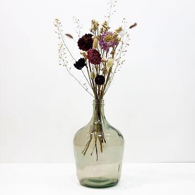 Dried Flower Bouquet in Recycled Glass Vase   Grey Vase   Pink Flower Mi
