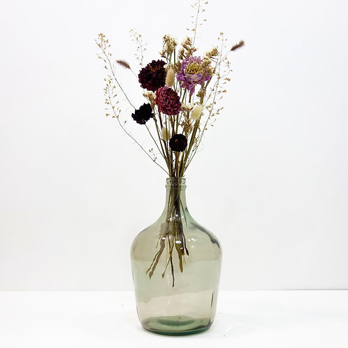 Dried Flower Bouquet in Recycled Glass Vase | Grey Vase | Pink Flower Mi