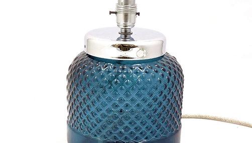 26cm Diamond Recycled Glass Lamp Petrol Blue (1/case)