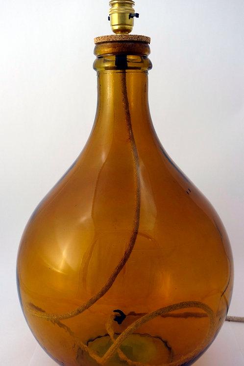 "Recycled Glass Table Lamp   49cm Amber   ""Garrafa"""