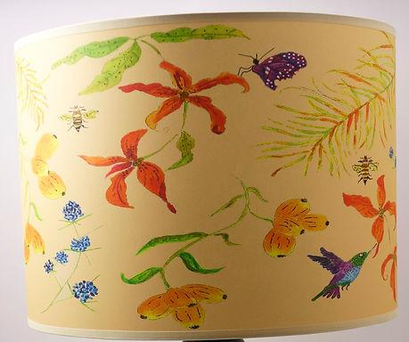 "Handmade Printed Lamp Shade | 12"" to 20"" Diameter | Hummingbird & Bee Orange"