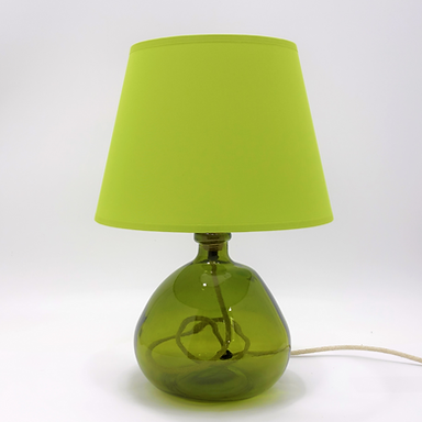 Recycled Blown Glass Table Lamp with Choice of Flex | 29cm Olive Green