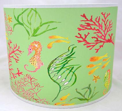 "Handmade Printed Lamp Shade | 12"" to 20"" Diameter | Seahorse in Green"