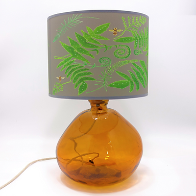 Recycled Blown Glass Table Lamp with Choice of Flex | 39cm Amber