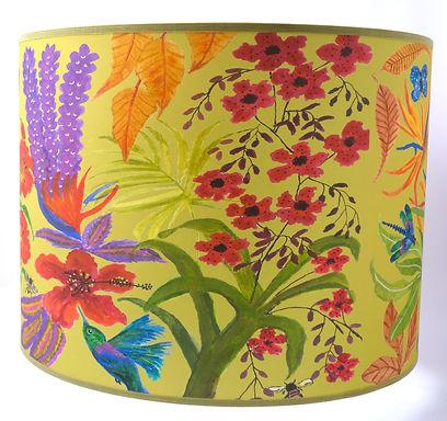 "Handmade Printed Lamp Shade | 12"" to 20"" Diameter | Bright Flowers inYellow"