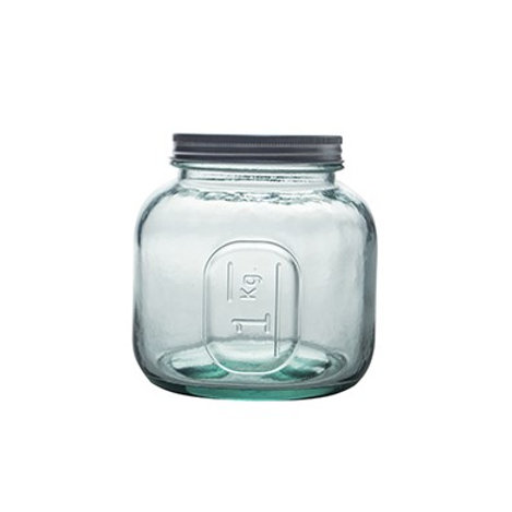 Recycled Glass Storage Jar  | 1L  |  Set of 3 with a Screw Top Lid