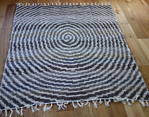 Recycled Cotton Rug | 170cm x 170cm With Spiral Pattern | Soft, Machine Washable