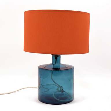 Recycled Glass Table Lamp with Choice of Flex   32cm Petrol Blue