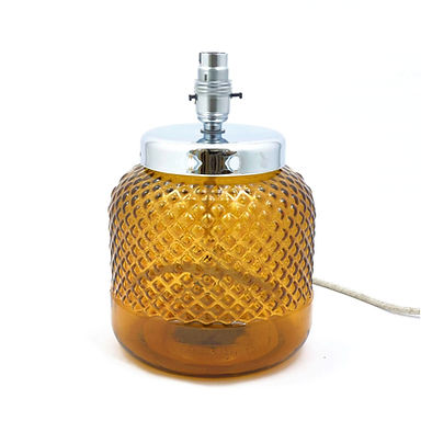 Recycled Glass Diamond Lamp Base with Choice of Flex | 26cm Amber