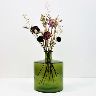 Dried Flower Bouquet in Recycled Glass Vase | Green Vase | Pink Flower M